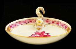 Herendi Apponyi Mintás Porcelán Tálka Koi Hal Figurával, Kézzel Festett, Jelzett, Hibátlan, 9,5×7 Cm - Ceramics & Pottery