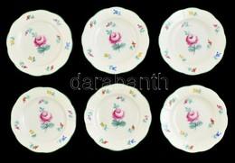 Herendi Virág Mintás Kis Tálka (6 Db), Kézzel Festett, Jelzett (koronás), Hibátlan, D: 12 Cm (6×) - Ceramics & Pottery