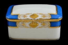 Herendi ékszertartó Dobozka, Kézzel Festett, Jelzett (koronás), Kopott, 7,5×4,5 Cm - Ceramics & Pottery