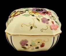 Zsolnay Pillangó Mintás Dobozka, Kézzel Festett, Jelzett, Hibátlan, 10×10 Cm - Ceramics & Pottery