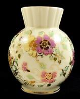 Zsolnay Pillangó Mintás Váza, Kézzel Festett, Jelzett, Kopott, M:12 Cm - Ceramics & Pottery