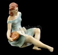 Drasche Madaras Lány, Kézzel Festett, Jelzett, Apró Kopásokkal, M: 13 Cm - Ceramics & Pottery