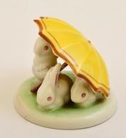Drasche Porcelán Nyuszik Erny? Alatt, Kézzel Festett, Jelzett, Hibátlan, 5×5,5 Cm - Ceramics & Pottery