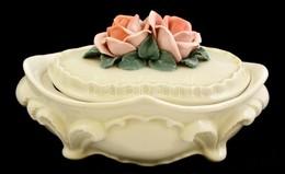 Ens Rózsás Bonbonier, Kézzel Festett, Jelzett, Hibátlan, 17x11x8 Cm. - Ceramics & Pottery