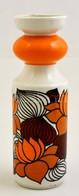 Hollóházi Porcelán Narancssárga-barna Mintás Váza, Matricás, Jelzett, Hibátlan, M: 22,5 Cm - Ceramics & Pottery