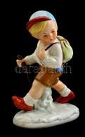 Vándorló Fiú, Porcelán Figura, Jelzés Nélkül, Kis Kopásokkal, M: 15 Cm - Ceramics & Pottery