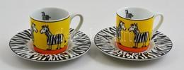 2 Db Zebrás Csésze+alj, Matricás, Jelzett, Kis Kopásokkal, D: 5,5 Ill. 12 Cm - Ceramics & Pottery