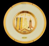 Chokin New York Emléktányér, Aranyozott, Jelzett, Hibátlan, D: 20 Cm - Ceramics & Pottery