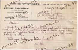 Bois De Construction, Scierie Mécanique Overney, Gautier Et Cie, Le Valdahon, 1942 - France
