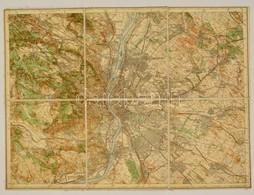 Cca 1910 Budapest és Környéke Színezett Vászon Katonai Térkép 54x40 Cm - Other Collections