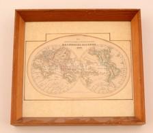 1849  Föld Képe. Rézmetszet? Térkép, üvegezett Keretben / Map Of The Globe In Glazed Frame 29x32 Cm - Other Collections