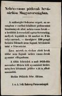 1854 Nehéz-vasas Pótlovak Bevásárlása Magyarországban, Cs. K. 3. Hadsereg Parancsnokság Hirdetménye Lóvásárlásról, 34x24 - Other Collections