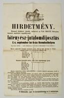1871 Lótenyész Jutalomdíjosztás, Szombathely Hirdetmény 32x48 Cm - Other Collections