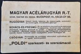 Cca 1920 Magyar Acélárugyár Hirdetmény. Puha Merített Papíron. 46x29 Cm - Other Collections