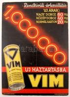 Cca 1940 VIM Tisztítószer Reklám Plakát. Karton.  / Cca 1940 Cleaning Product Advertising Poster. 35x48 Cm - Other Collections