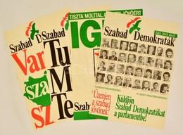 1990 4 Db Szabad Demokraták Szövetsége (SZDSZ) Választási Plakát, 56,5x39,5 Cm - Other Collections
