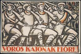 Uitz Béla 'Vörös Katonák El?re!' Plakátjának Modern Ofszet Reprintje, 19,5x29 Cm - Other Collections