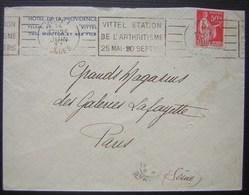 1937 Vittel Hôtel De La Providence Avec Oblitération Mécanique Station De L'arthritisme (VIT405) - Marcofilia (sobres)