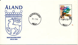 Aland Special Cover 29-2-1984 Last Day With Finland Stamps With Cachet (a Brown Stain On The Cover) - Aland