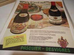 ANCIENNE PUBLICITE VIN BOURGOGNE DE PASQUIER DESVIGNES 1960 - Alcohols