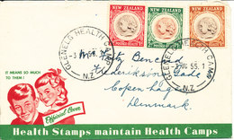 New Zealand FDC Sent To DENMARK 3-10-1958 Health Stamps With Cachet - FDC