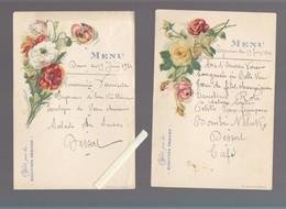 Menu - Biscuits Pernot - Lot De 2 - Juillet 1924 - Fleurs Eudes - Menus