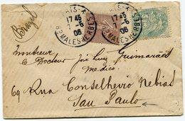 FRANCE LETTRE AVEC AFFRANCHISSEMENT MIXTE (BLANC / SEMEUSE LIGNEE) DEPART PARIS 7-5-06 POUR LE BRESIL - 1900-29 Blanc