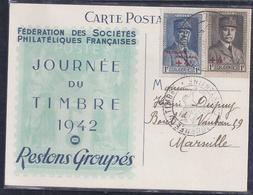 Carte Federale Journee Du Timbre 1942 Constantine Petain - Algérie (1924-1962)