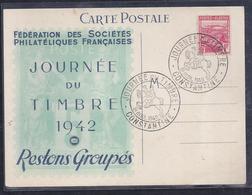 Carte Federale Journee Du Timbre 1942 Constantine - Algérie (1924-1962)