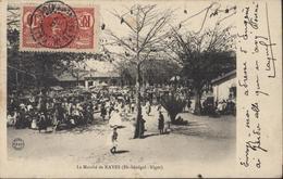CPA Le Marché De Kayes Haut Sénégal Niger YT 5 Général Faidherbe 10c Rouge CAD KATI HT Sénégal Niger 20 Oct 09 - Senegal