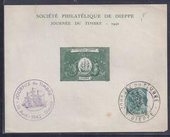 Feuillet Souvenir Journee Du Timbre 1942 Dieppe Mercure Vignette - Cartas