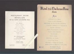 Menu  - Nantes - Restaurant Decré, St-Sylvestre 1954 Avec Jo Charrier Et Hotel Duchesse Anne ( Muscadet Et Vallet) - Menus