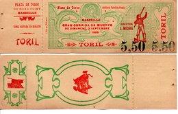 TICKET DE CORRIDA MARSEILLE PLAZA TOROS - Tickets - Vouchers