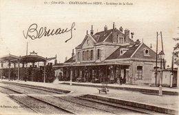 CPA - CHATILLON-sur-SEINE (21) - Aspect Du Train à Vapeur à L'intérieur De La Gare En 1918 - Chatillon Sur Seine