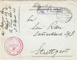 Feldpostbrief Avec Cachet Württembergischer Vereinslazarettzug * + Censure Hagenau Obl DIEMERINGEN Du 2.3.17 Pour Stuttg - Marcophilie (Lettres)