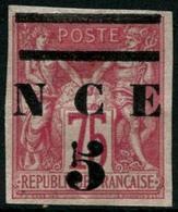 (*) N°7 5 Sur 75c Rose Avec Bande Supérieure Doublées - TB - New Caledonia