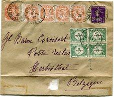 FRANCE LETTRE AVEC AFFR. MIXTE (BLANC / SEMEUSE) DEPART PARIS 6-4-23 TAXEE A L'ARRIVEE EN BELGIQUE A HERBESTHAL 7-4-23 - 1900-29 Blanc