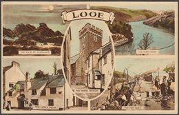 Multiview, Looe, Cornwall, 1955 - Harvey Barton Postcard - England