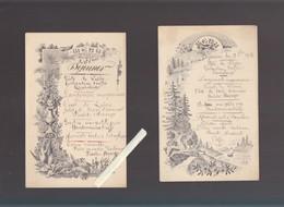 Menu  - Lot De 2 Lithographiés  - 13 Aout 1903 - Menu