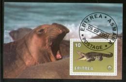 Eritrea 2001 Seal Crocodle Marine Life Reptiles M/s Cancelled # 3156 - Maritiem Leven