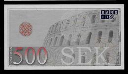"ATM Test Note ""BANQ IT Schweden"" Testnote, 500 SEK, Beids. Druck, RRR, UNC - Sweden"
