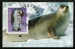 Eritrea 2001 Penguins Seal Marine Life & Mammals Animals M/s Cancelled # 3978 - Maritiem Leven