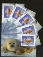 Eritrea 2001 Seal Fish Marine Life & Mammals Animals M/s Cancelled X 5 # 54 - Marine Life