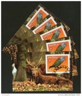 Eritrea 2001 Deer Stag Parrot Wild Life Bird Fauna M/s Cancelled X 5 # 3886 - Parrots