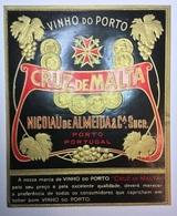 Rotulo De Vinho Do Porto CRUZ DE MALTA - Nicolau De Almeida. Vintage PORT WINE LABEL Gilded Medal Embossed - Labels