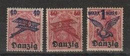 Danzig / Flugpostmarken (I): Freimarke Danzig MiNr. 6 Mit Aufdruck / MiNr. 50-52 - Deutschland