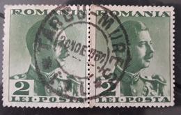 ERROR KING CAROL II,ROMANIA 1932, MISPLACED IMAGE PERFORATION, CANCEL TARGU- MURES - Usado