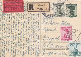 Austria Express Registered Stationery Graz 1957 - Stamped Stationery