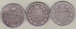 Russie . 3 Pièces De 10 Kopeks 1823, 1848 Et 1861 . Argent. - Russia