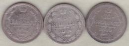 Russie . 3 Pièces De 10 Kopeks 1862, 1864 Et 1899 . Argent. - Russia